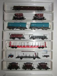 12-Fleischmann-Gueterwagen-2701-3601K-5401K-8219K-8702A-8228-8812K-OVP-Spur-N
