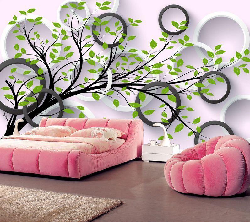 3D Arbre Boucle 67 Photo Papier Peint en Autocollant Murale Plafond Chambre Art