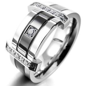 Edelstahl Ring Silber Schwarz CZ Eheringe Herren ve548  eBay