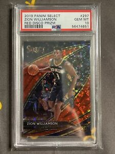 2019 Select Courtside Red Disco Zion Williamson ROOKIE RC 25/49 #297 PSA 10 GEM