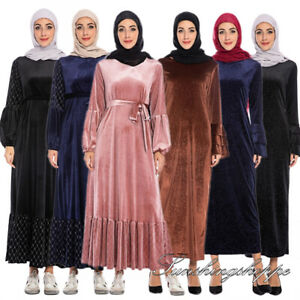 Muslim Women Abaya Pleated Velvet Long Maxi Dress Kaftan Robe Cocktail Gown Arab
