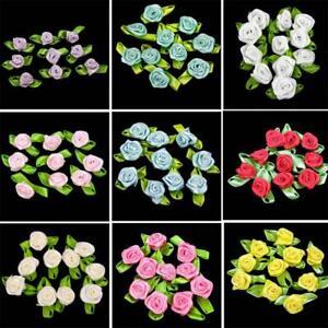50-BIG-ROSE-BUDS-SATIN-RIBBON-FLOWERS-ROSEBUDS-WEDDING-CARD-MAKING-SCRAPBOOKING
