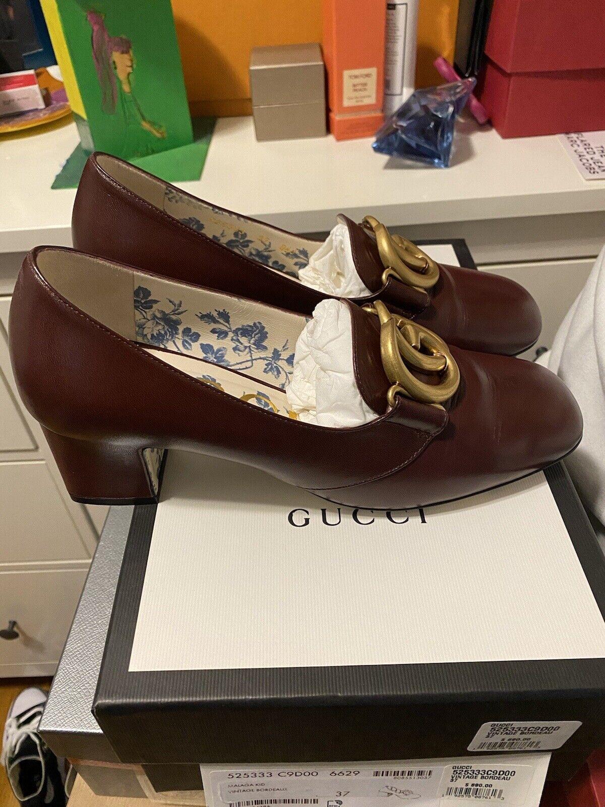 Gucci Malaga Kid Vintage Bordeaux heel loafer 37 … - image 2