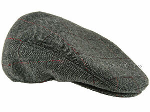 Hawkins Mens Mix Wool Structured Country Style Flat Cap Hat Headwear ... 6df55beba35