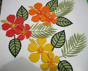Paper hibiscus flowers and tropical leaves ebay image is loading paper hibiscus flowers and tropical leaves mightylinksfo