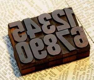 0-9 Zahlen 27mm Holzlettern Lettern Holzzahlen Ziffer Zahl imprimerie printer
