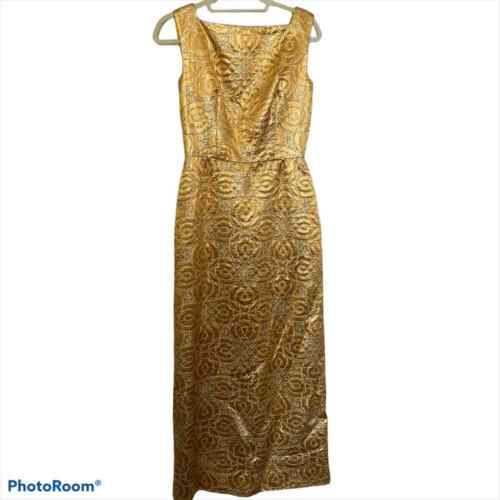 80s Vintage Scaasi Boutique Bombshell Gold Maxi D… - image 1