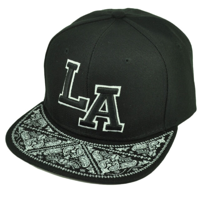 LA Los Angeles California Paisley Snapback Flat Bill Brim Hat Cap Black  White 6af08e5afcf