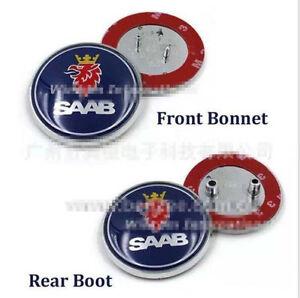 2x Saab Badge 9-3,9-5 Set Boot Back & Bonnet Front Logo Emblem 68mm