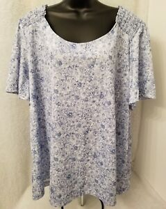 268d2a9bf41e2d Image is loading Blair-Womens-Blue-White-Floral-Shirt-Top-Size-
