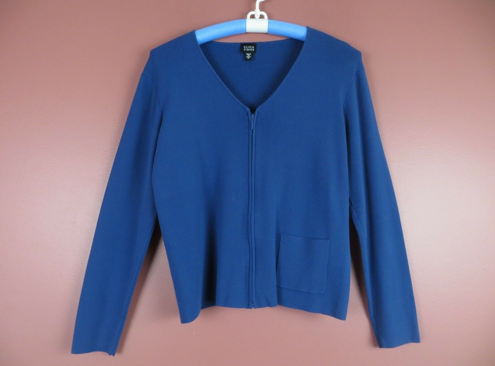SC000365-EILEEN FISHER Womens Viscose Nylon Zip Front Cardigan Deep Slate bluee L