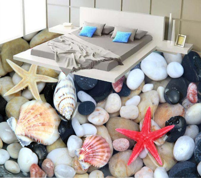 3D Lush Stones Starfish Floor Wallpaper Murals Wall Print Decal 5D AJ WALLPAPER
