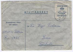 Cover-H48-Sweden-1945-used-Militarbrev-Military-Envelope