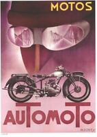 1930's French Art Deco Automoto Motorcycle 9 X 12 Repro Advertising Poster