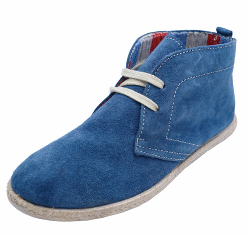COTSWOLD FRANKHAM BLUE SUEDE LEATHER CASUAL DESERT FLAT ANKLE BOOTS SIZES 5-7