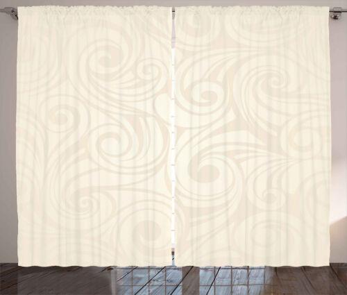 Ivory Curtains 2 Panel Set Decor 5 Sizes Available Window Drapes Ambesonne