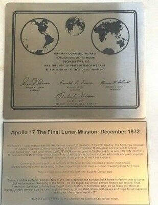 APOLLO 11 NASA LUNAR landing plaque engraved expl plate Stainless steel