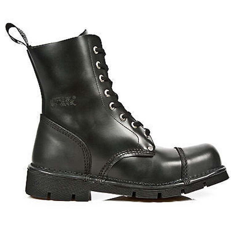 NewRock New Rock New Mili-083 S1 Black Military Biker Unisex 8 Hole Gothic Boots
