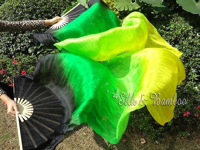 """1 pair 1.8m*0.9m (70""""x35"""") black-green-yellow belly dance silk fan veils+bag."""