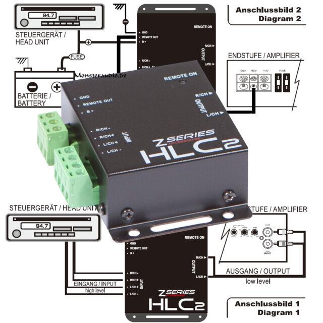 HIGH LOW Converter Lautsprecher auf Cinch CAR HIFI Umwandler Adapter