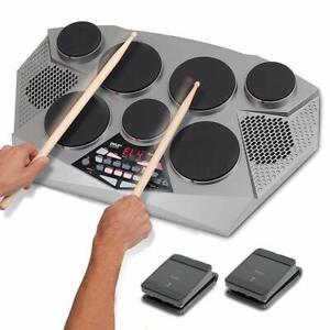 digital 7 pad percussion kit machine electric drum set hi hat kick bass pedal ebay. Black Bedroom Furniture Sets. Home Design Ideas