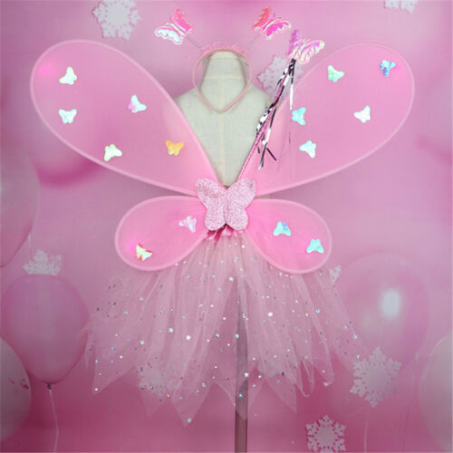 4pcs Kids Girls LED Fairy Dress Butterfly Wing Wand Headband Costume Party Decor