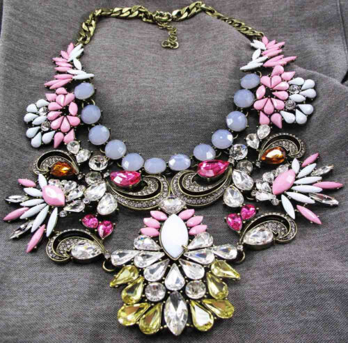 Fashion pentand Crystal Bib Statement Charme Chunky Colorful Collier Collier 803