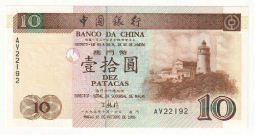 Details about  /MACAU 10 Patacas Banknote 1995 P.90 UNC