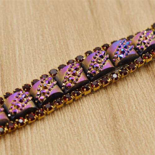 1 Yard Colorful Rhinestone Lace Trims Ribbon Iron On Fabric Sewing Accessories