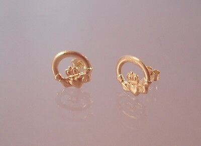 Brand New 9ct Gold Small Claddagh Stud Earrings - Boxed