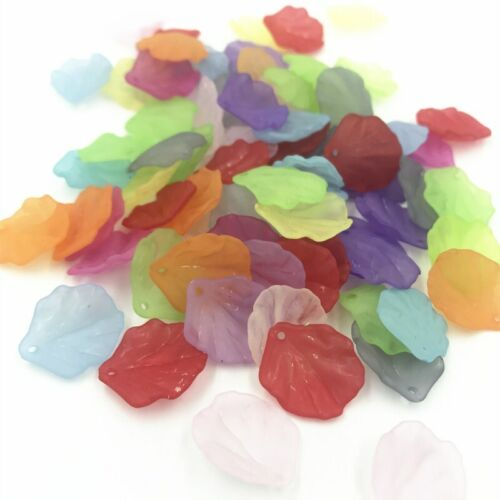 300pcs Mixed color leaf Pendant Acrylic Spacer Beads For Jewelry Making 20mm