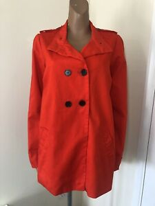 La-Redoute-Pillarbox-Red-Long-Pea-Trench-Coat-Size-16