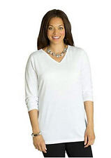 4X 28/30 NWT ULLA POPKEN LONG SLEEVE COTTON KNIT V-NECK TEE WHITE SPRING TIME