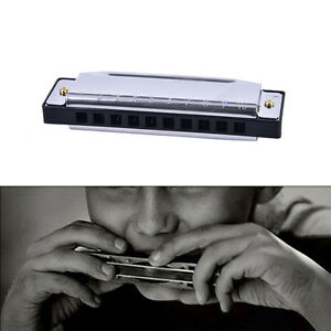 Blues-Harmonica-10-Holes-Key-of-C-Musical-Instrument-Stainless-Steel-MO