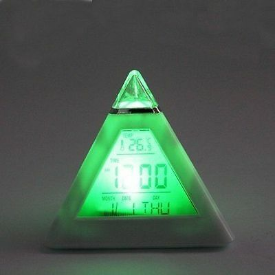 7-Color Change Clear LED Digital Pyramid LCD Temperature Mini Alarm Desk Clock