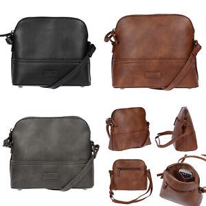 Kleine-Damen-Umhaengetasche-Tasche-Schultertasche-Leder-Optik-Braun-Grau-Schwarz