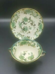 Mason's Green Chartreuse Soup Cup and Saucer-Good Condition-1st Quality