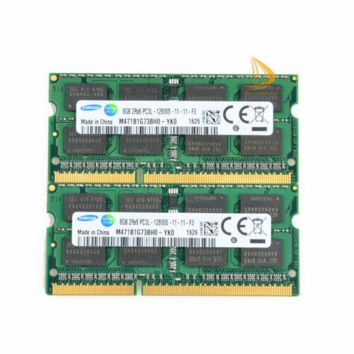 Samsung Kits 2x 8GB 2RX8 PC3L-12800S DDR3 1600MHZ 1.35V SODIMM RAM Laptop Memory