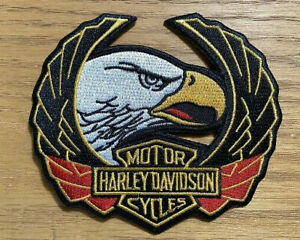 Vintage Harley Davidson Up Wing Eagle Head Iron On Patch Embroidered Ebay