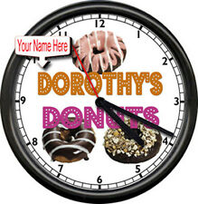 Donut Shop Personalized Your  Name Bakery  Chef  Coffee Shop Sign Wall Clock