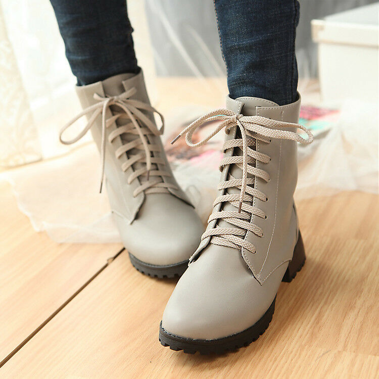 NEW Women Ankle Boots Punk Lace Up Multi Color Synthetic Leather Fashion Shoes