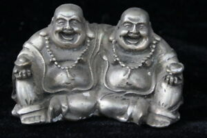 Collectable-Miao-Silver-Carve-Exorcism-Buddha-Double-Handwork-Tibet-Old-Statue