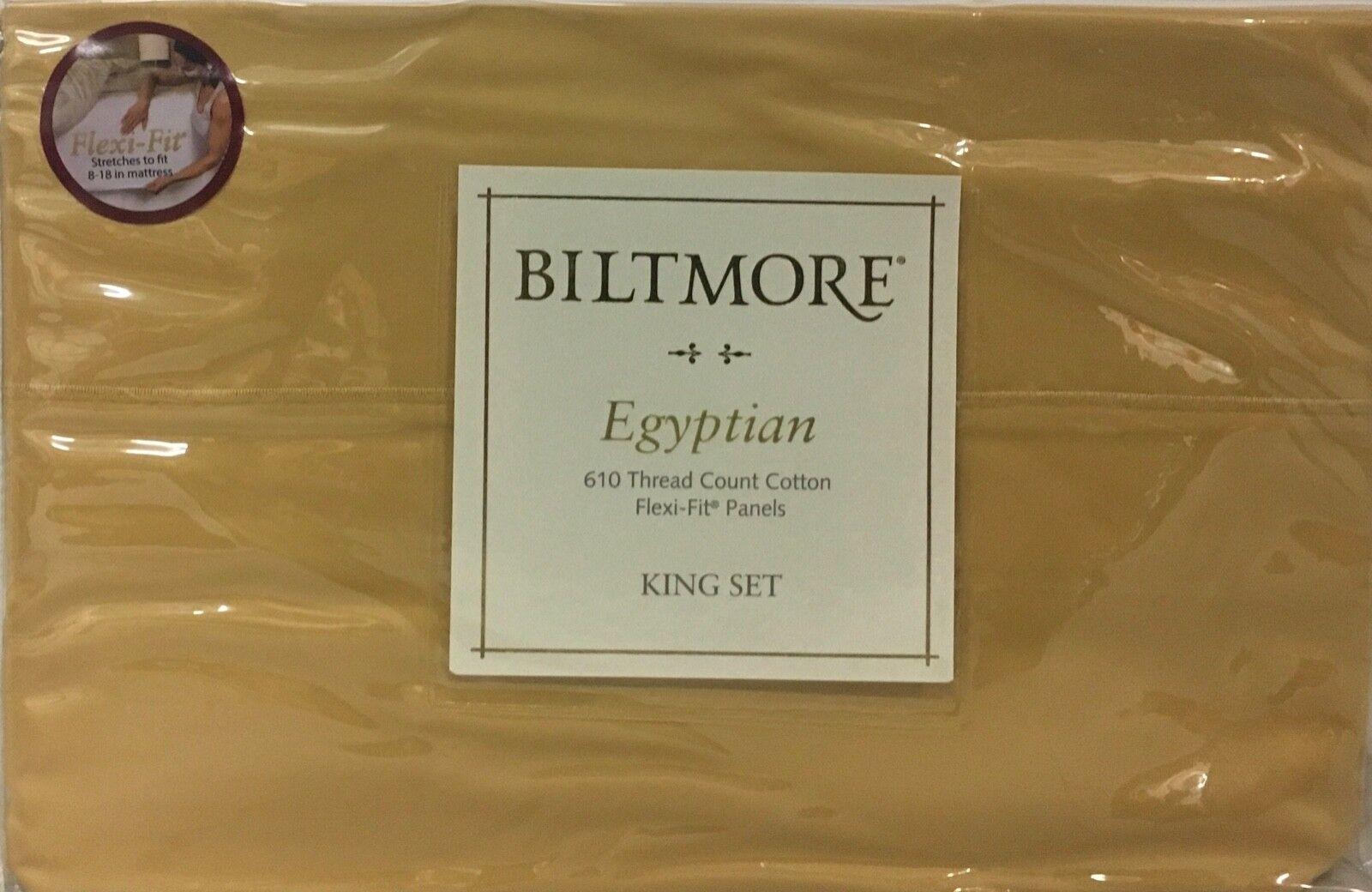 Biltmore Flexi-Fit 610 TC Egyptian Cotton 4 Pc Sheet Set - Napa Gelb