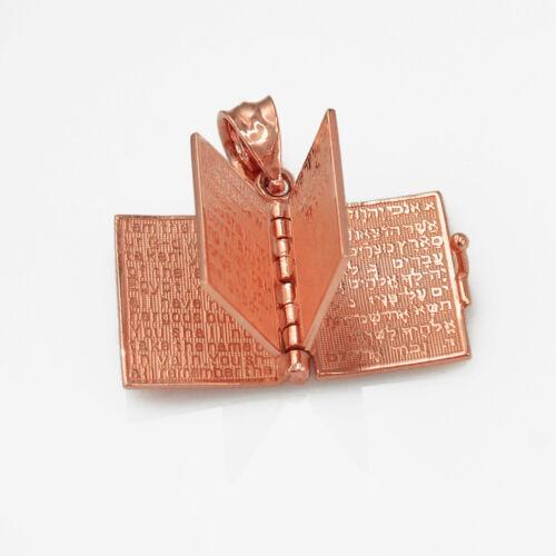 Or Rose Judaic dix commandements 3D Jewish Bible Collier