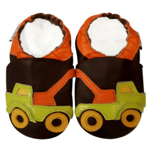 Soft-Sole-Leather-Baby-Infant-Children-First-Walking-Crib-Shoe-TruckBrown-12-18M