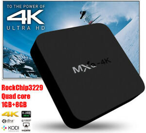 MXQ-4K 1+8G/2+16G Android 10.1 Smart TV Box Reproductor de medios Quad Core Wifi