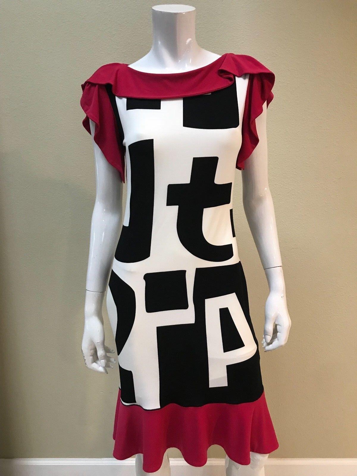 EVA VARRO NWT Multicolor Letter Print Flounce Trim Flare Dress Size Small NEW