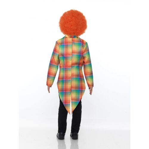 Child Neon Tartan Clown Tailcoat Boys Girls Circus Halloween Fancy Dress Outfit