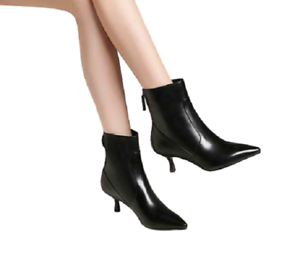 Sexy Womens Leather Pointed Toe Kitten Heels Back Zip Chelsea Style Ankle Boots