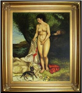 Framed-Hand-Painted-Oil-Painting-Repro-Renoir-Pierre-Auguste-Bather-20x24in